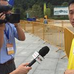 Qionglong - 3nd stage: Interview CCTV to Wang Zhen in yellow jersey