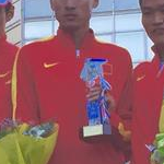 20 km men - Chen Ding, Wang Zhen and Cai Zelin on the podium