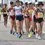Women 20 km: Leading pack