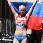 Women - 20 km - Elmira Alembekova celebrates gold medal (by Philipp Pohle - GER)