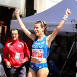 Women - 20 km - Eleonora Giorgi celebrates second place (by Philipp Pohle - GER)