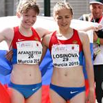 Women - 10 km Junior - Afanasyeva and Losinova celebrate the victory (by Philipp Pohle - GER)