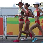 20 km women - Maria Guadalupe Gonzalez is leading together with Liu Hong and Lu Xiuzhi (by Giancarlo Colombo per Fidal)