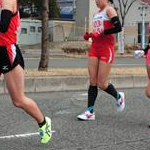 Women 20 Km - Okada (104) followed by Michiguchi (103-DQ) and Inoue (101) during the race