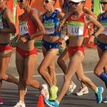 20 km women - Leading group at 10 km