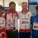 Men: gold, silver and bronze together with Turkish coach